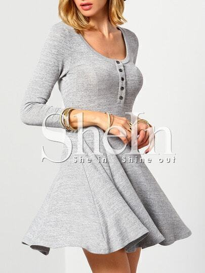Grey Round Neck With Button Dress