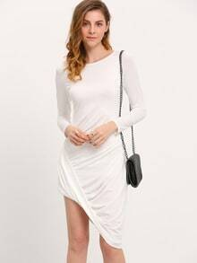 White Long Sleeve Asymmetric Dress