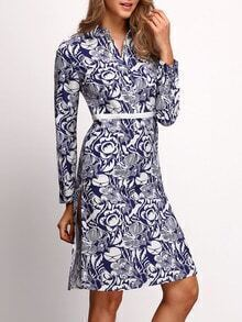 Blue Long Sleeve Split Floral Dress