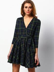 Dark Green Long Sleeve Plaid Dress