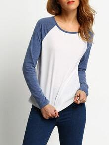 White Blue Round Neck Color Block T-Shirt