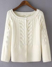 White Cabel Knit Button Front Sweater