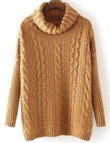 Brown Cable Knite Cowl Neck Sweater
