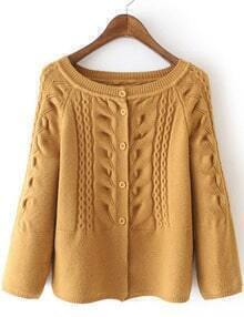 Yellow Cabel Knit Button Front Sweater