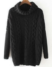 Black Cable Knite Cowl Neck Sweater