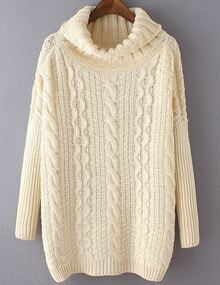 Beige Cable Knite Cowl Neck Sweater