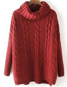 Burgundy Cable Knite Cowl Neck Sweater