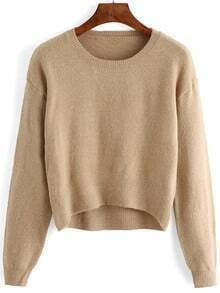 Women Apricot Scoop Neck Slim Sweater