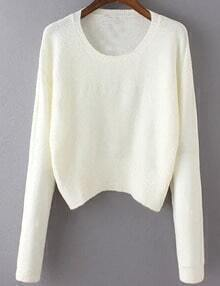Women White Scoop Neck Slim Sweater