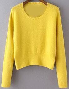 Women Yello Scoop Neck Slim Sweater