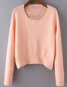 Women Pink Scoop Neck Slim Sweater