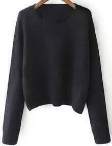 Women Black Scoop Neck Slim Sweater