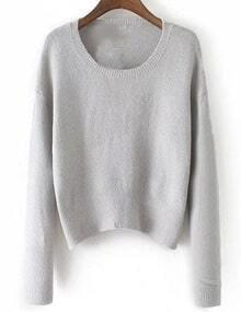 Women Grey Scoop Neck Slim Sweater