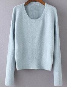 Women Pale Blue Scoop Neck Slim Sweater