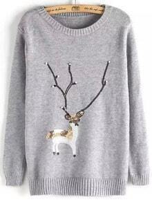 Grey Crew Neck Sequin Moose Beaded Jumper