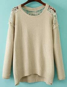 Apricot Lace Embellishment High Low Jumper
