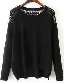Black Lace Embellishment High Low Jumper