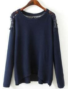 Navy Blue Lace Embellishment High Low Jumper