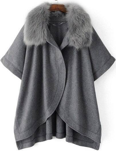Grey Batwing Sleeve Faux Fur Collar Cape