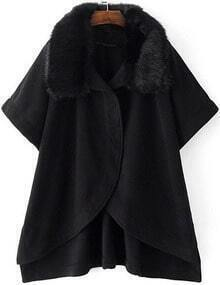 Black Batwing Sleeve Faux Fur Collar Cape