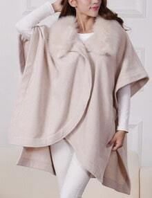 Beige Batwing Sleeve Faux Fur Collar Cape