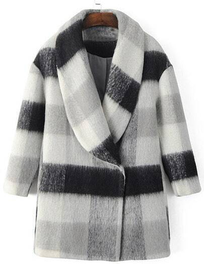 Black White Plaid Shawl Collar Coat