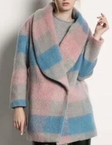 Pink Blue Plaid Shawl Collar Coat