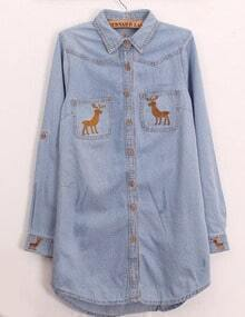 Pale Blue Moose Embroidered Denim Shirt