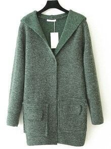 Green Hooded Long Sleeve Pockets Sweater Coat