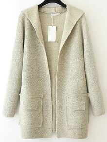 Apricot Hooded Long Sleeve Pockets Sweater Coat