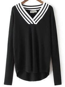 Black V Neck Striped Loose Knitwear