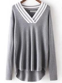 Grey V Neck Striped Loose Knitwear