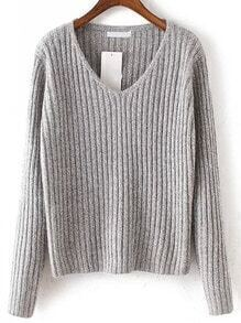 Light Grey V Neck Long Sleeve Crop Sweater