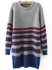 Grey Blue Round Neck Striped Loose Sweater