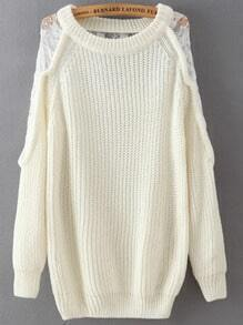 White Round Neck Lace Loose Sweater