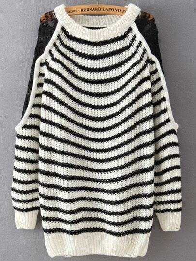 Black White Round Neck Lace Striped Loose Sweater