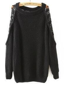 Black Round Neck Lace Loose Sweater