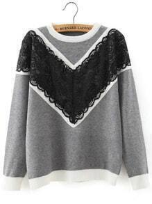 Grey Round Neck Lace Loose Sweater