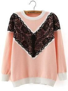 Pink Round Neck Lace Loose Sweater