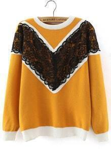 Yellow Round Neck Lace Loose Sweater