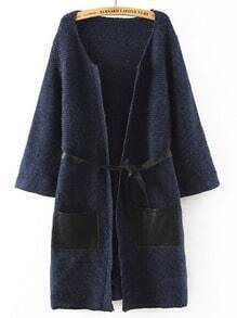 Navy Contrast PU Leather Pockets Sweater Coat