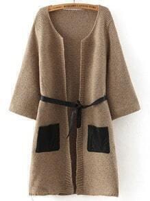 Camel Contrast PU Leather Pockets Sweater Coat