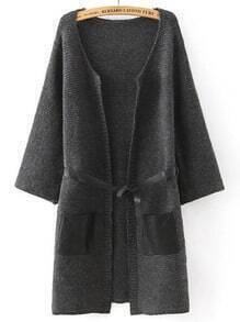 Grey Contrast PU Leather Pockets Sweater Coat
