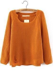 Khaki Long Sleeve Ripped Loose Sweater