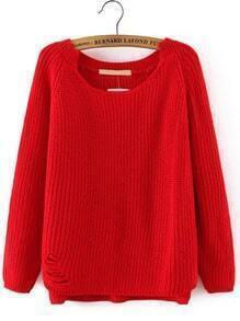 Red Long Sleeve Ripped Loose Sweater