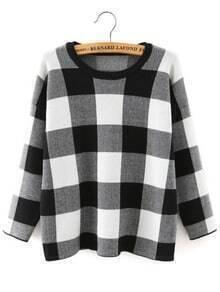 Black White Round Neck Plaid Crop Knitwear
