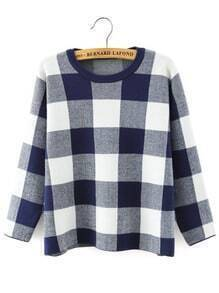 Blue White Round Neck Plaid Crop Knitwear