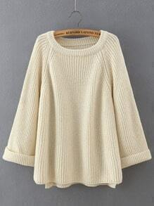 Apricot Round Neck Long Sleeve Loose Sweater