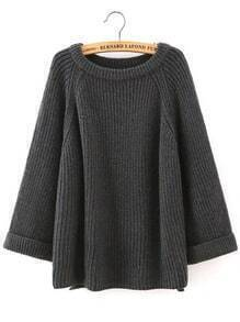 Black Round Neck Long Sleeve Loose Sweater