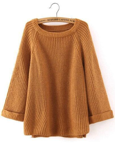 Khaki Round Neck Long Sleeve Loose Sweater